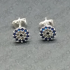Sterling-Silver-Rose-Gold-Evil-Eye-Stud-Earrings-Mati-Nazar-Cubic-Zirconia-CZ
