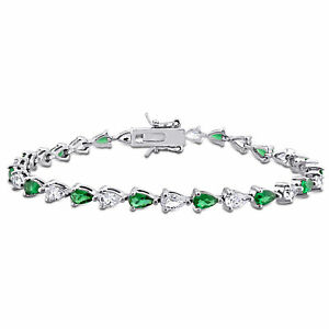 Amour-Green-Cubic-Zirconia-and-Created-White-Sapphire-Sterling-Silver-Bracelet