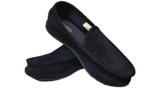 NAVY BLUE CORDUROY HOUSE SHOES SLIPPERS TROOPER BRAND NEW SIZE 8 9 10 11 12 13