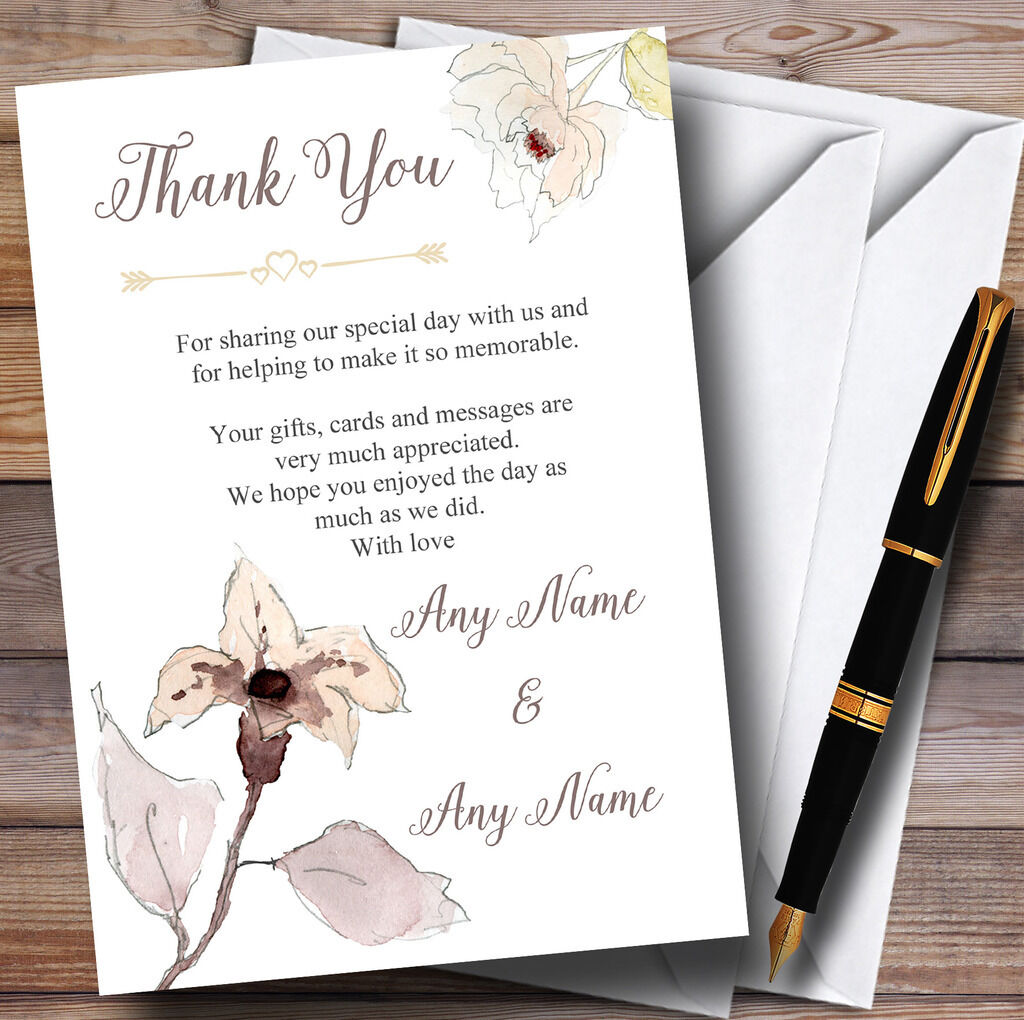 Beautiful Peach Watercolour Flowers Personalised Wedding Thank You Cards