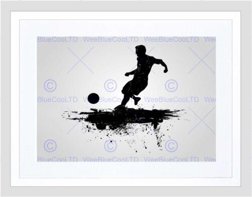 SPORT FOOTBALL SOCCER SILHOUETTE SPLASH BLACK BLACK FRAMED ART PRINT B12X13356