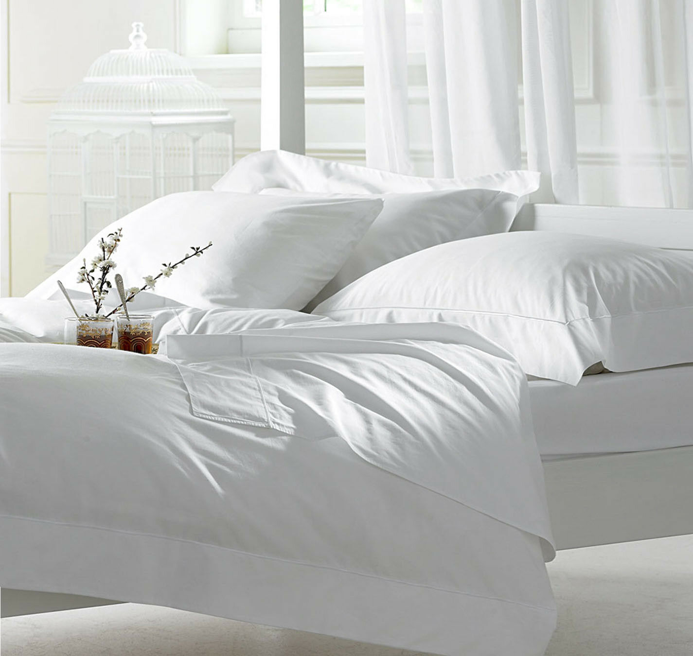Sale   New White Solid - Sheet Set - Sizes & Deep 100% Egyptian Cotton 1000TC