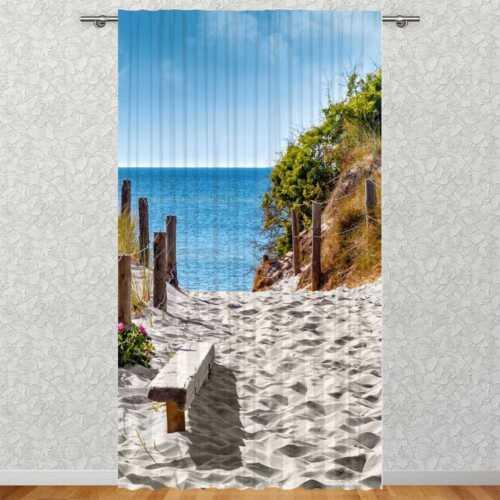 "Vorhang /""Strand Ostsee/"" 135 x 245 cmFotovorhang Motiv Textildruck Bild"
