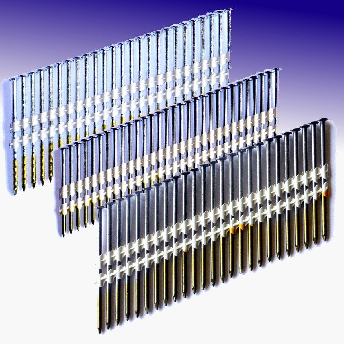 20° PE-Streifennägel (50, 65, 70, 80, 90 mm, verzinkt, gerillt, glatt, blank)