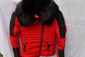 best sneakers 496bf a641c Details zu Navahoo Damen Jacke Winterjacke Steppjacke kurz rot schwarz  Pelzkragen XS 32 152