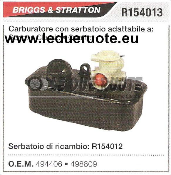494406 CARBURATORE A VASCHETTA BRIGGS & STRATTON SERBATOIO SPRINT CLASSIC  QUATT
