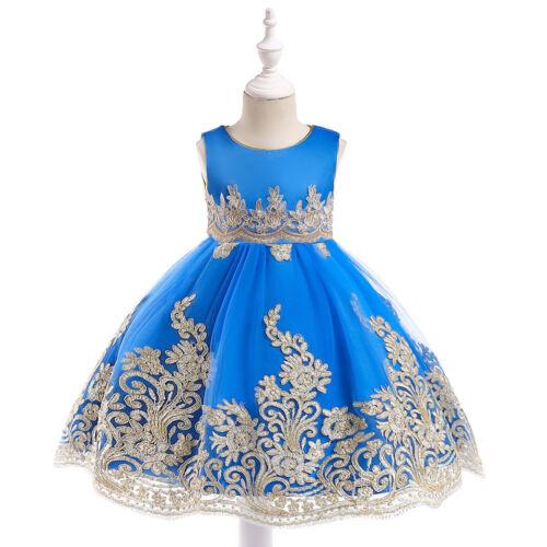 Children Girls Holiday gold thread Pleated Dress Princess Party Dress ZG8