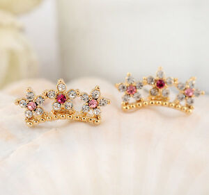 New-18K-Gold-Plated-Zircon-Crystal-Crown-Flower-Stud-Earrings-Fashion-Gift