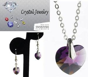 712a7dae Detalles de Joya Set Cristal Violeta Collar y Pendientes 2 Pc Estuche  Bañado en Oro Blanco