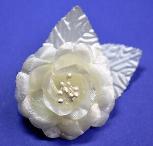 "SMALL 2.5"" Ivory White Satin Rose Silk Flower Hair Clip Wedding Bridesmaid"