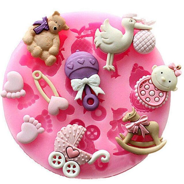 UK_Baby Shower Silicone Fondant Cake Mould Mold Chocolate Baking Sugarcraft D ed