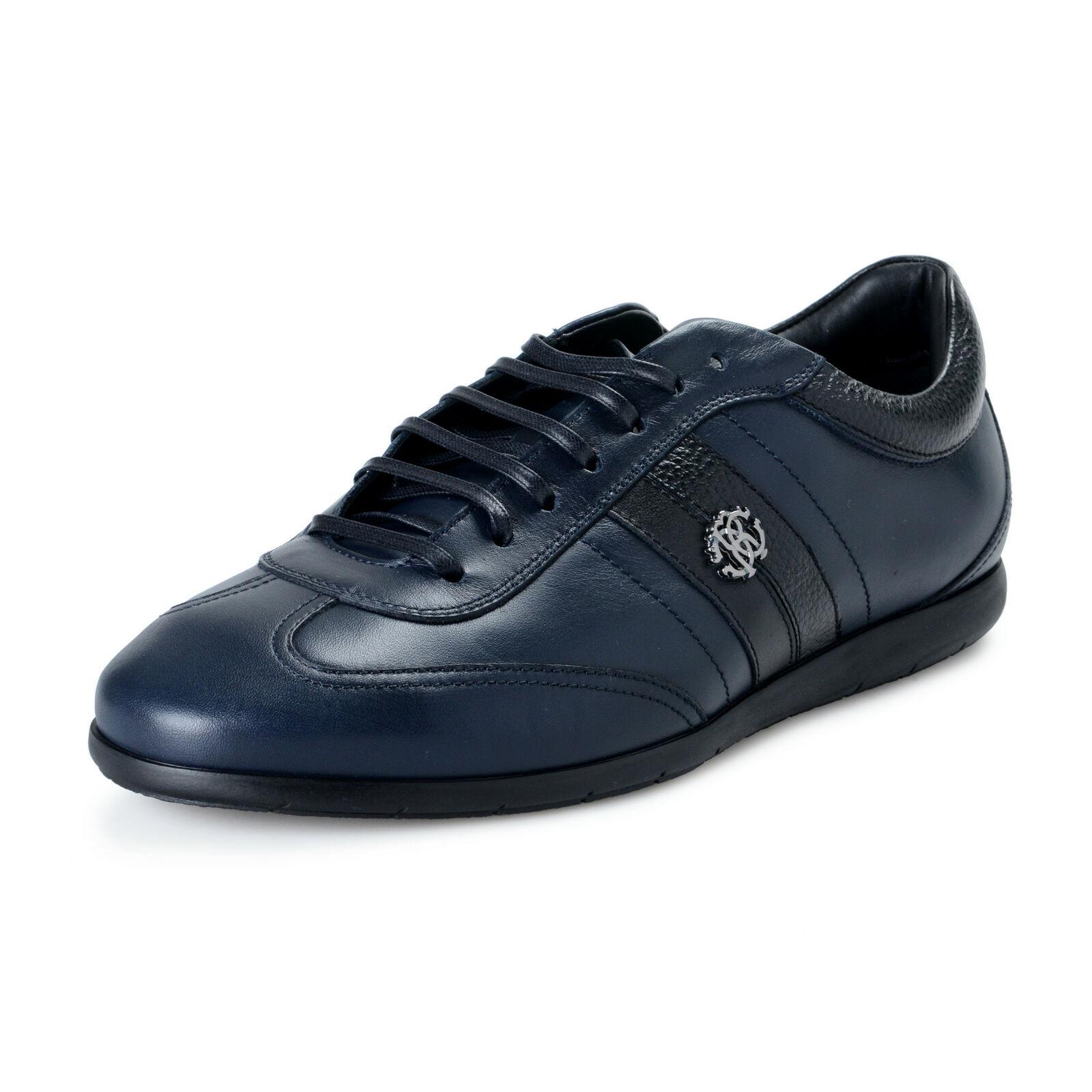 Roberto Cavalli Herren Blau Leder Mode Turnschuhe Sz 8 9 10 11