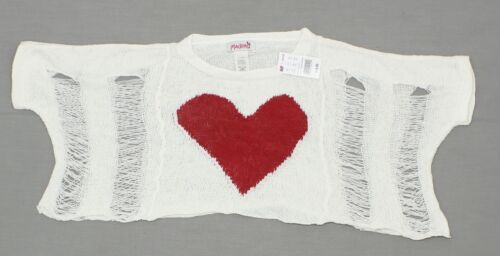 NWT Madrag Ladies Junior Fit Deconstructed Slouchy Sweater Heart Ivory