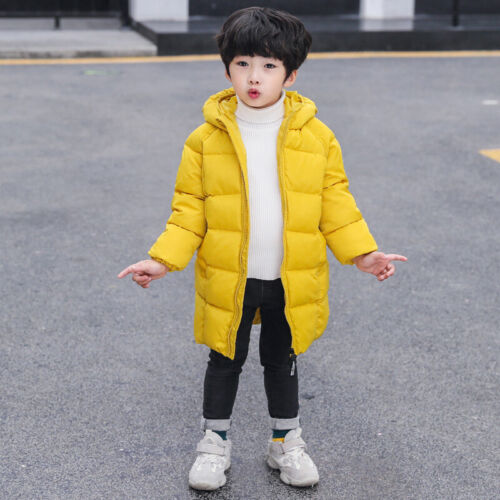 Girls Kids Boys Coat Hooded Down Cotton Zipper Jacket Winter Long Parka Casual
