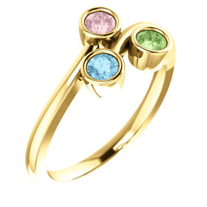 4 Birthstone Mother/'s Ring 14k Gold White  Yellow Or Rose Gold Personalized Family Jewelry ST82416