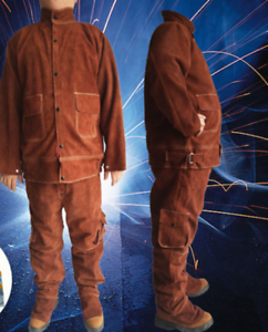 Leather-Welding-Brown-Jacket-Coat-Trousers-Protective-Clothing-Suit-for-Weld