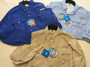 NWT-Columbia-Men-039-s-Bahama-II-FM7048-Vented-Long-Sleeve-L-S-UPF-PFG-Fishing-Shirt