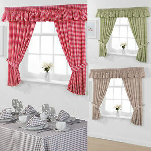 Image Is Loading Gingham Small Check Kitchen Curtains Matching Pelmets
