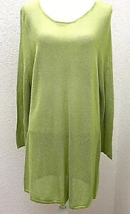 CHICO-039-S-Womens-Sweater-Size-3-XL-16-Green-Tunic-Open-Weave-Loose-Knit-Pullover