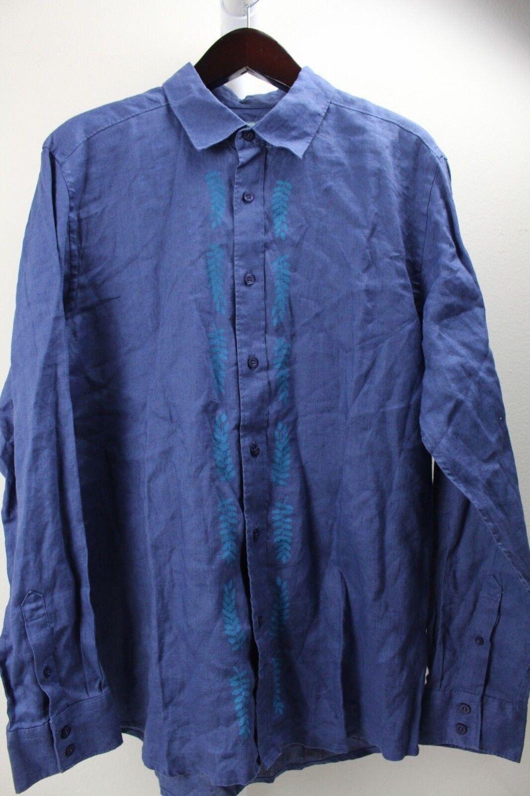 QuikPlata  100% Lino Azul Floral Botones Camisa Tamaño Grande  marca