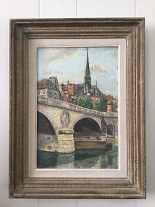 Tableau-Peinture-Huile-Sur-Panneau-Paris-Pont-Saint-Michel-Notre-Dame-De-Paris