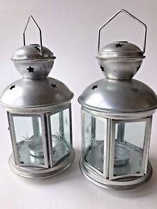 Set-2-metal-lamps-star-cutouts-tealight-holder-handle-aluminum-glass-lantern-new