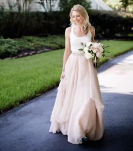 825e4e4a19064 2 Piece Blush Chiffon Short Train Wedding Dress Bridal Gowns Wedding ...