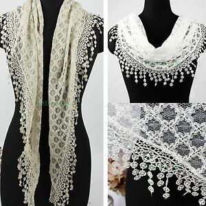 Women-039-s-Fashion-Rhombus-Mesh-Tassel-Lace-Solid-Color-Triangle-Scarf-Lady-Shawl