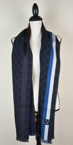 NEW-LV-Wool-Messager-Damier-Scarf-100-Authentic-M70339-Louis-Vuitton-Charcoal