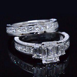 Genuine-4-20-Ct-3-Stone-Emerald-Cut-Diamond-Bridal-Ring-Set-F-VS1-GIA-Platinum
