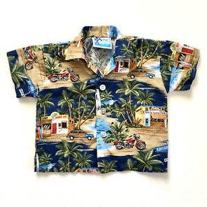 RJC Hawaiian Shirt Boys Size 12 Shave Ice Woody Waimea Bay SurfBoard Aloha Plane