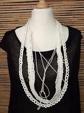 * Zuza Bart * Design 100% LINO incredibile bellissima collana decorativi *** bianco ***