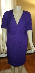 Lane-Bryant-V-Neck-Short-Sleeve-Dress-Purple-22-24-NWT