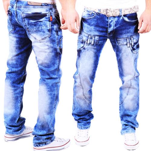 JEANS UOMO Designer Pantaloni Cargo Style Blu Spessore Cuciture Cuciture Clubwear Nuovo j.3.9
