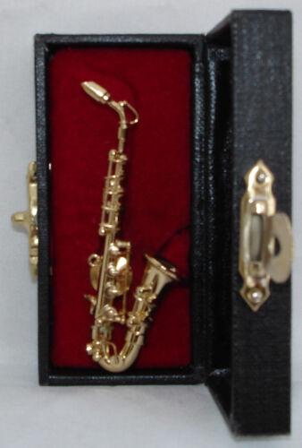 Saxophone replica handmade collectible miniature tie tag Pin 2.5 w/ black case