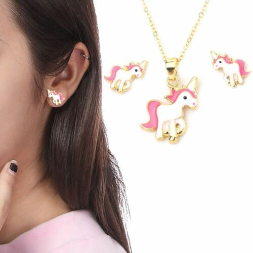 Girls Kids Lovely Pink Unicorn Necklace and Earring Set Brand  Funny Fatos