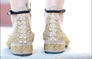 edb5aadc82688 Image is loading Rare-ZARA-Beige-Leather-Gold-Studded-Jewelled-Ballerina-