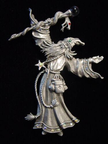 """Dernier PIN ~ Jonette Jewelry Silver Pewter /""""Jeweled Wizard Serpent personnel/"""" Pin"""