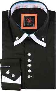 Chemise-Homme-Slimfit-Coton-Yves-Enzo-Noir-blanc-du-S-au-XXL