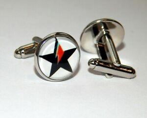 Rock music cufflinks David Bowie Glam rock cuff links David Bowie cufflinks David Bowie Ziggy Stardust logo symbol David Bowie jewelry