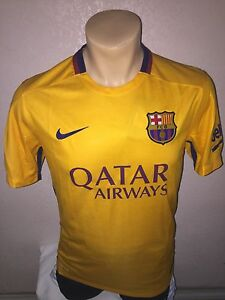 e0cfb0321b6 Nike Mens 2015 16 FC Barcelona Away Soccer Jersey Gold Red 658785 ...