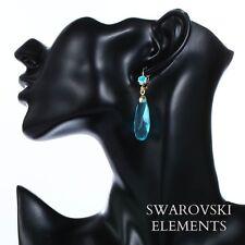 boucles d'oreilles plaqué or jaune goutte d'eau et  Swarovski® Elements bleu
