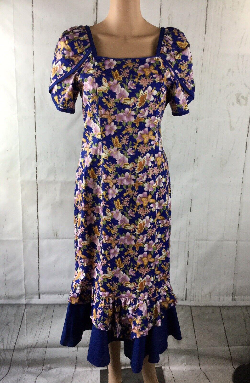 Island Aloha Wear vintage dress 100% cotton floral Blau  multi Größe Medium