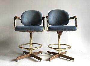 Tremendous Details About 2 Vintage Boho Hollywood Regency Chromcraft Swivel Brass Bar Stool Arm Chair Mod Cjindustries Chair Design For Home Cjindustriesco