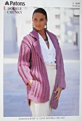 Patons Knitting Pattern 4646 - Ladies Double Chunky Jacket ...