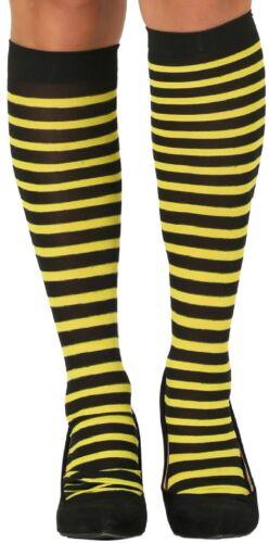 Ladies Bumble Bee Stripe Carnival Hen Do Fancy Dress Stockings Hold Ups Socks