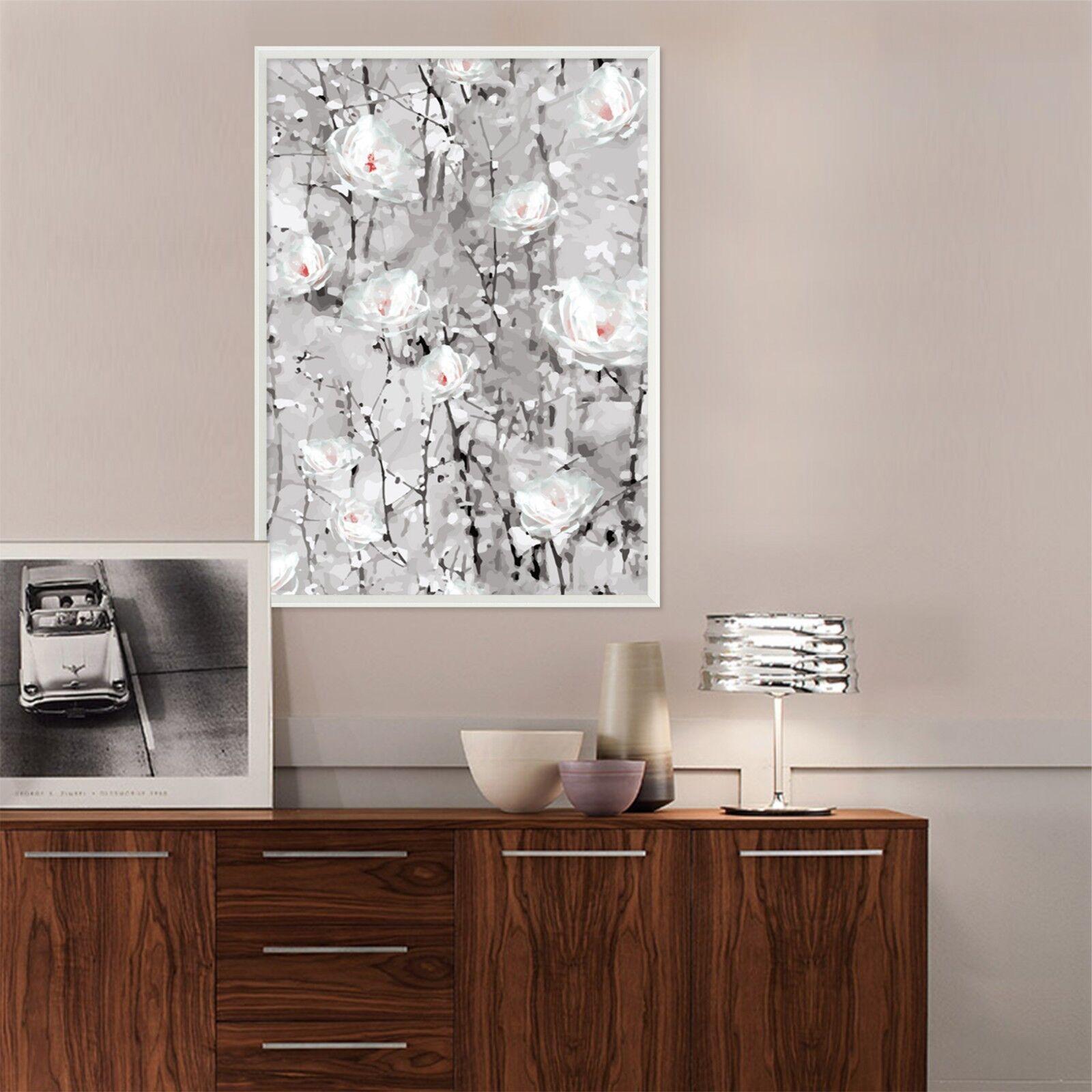 Pintura al óleo de 3D blancoo Flor 47 Enmarcado Póster Decoración del Hogar Pintura de Impresión Arte AJ