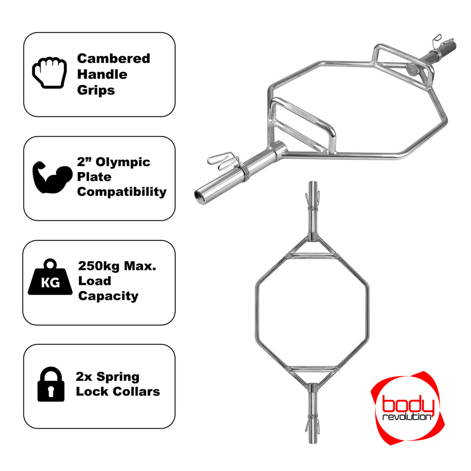OLYMPIC coprispalle Trappola bar con 2  Collari a Molla-Hex Barbell per  deadlift