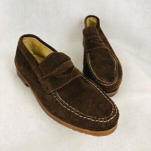 Allen-Edmonds-Mens-Parker-Penny-Loafers-Shoes-Brown-Suede-Slip-On-USA-Made-9-W