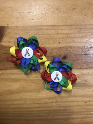 Set of Rainbow Autism Ribbon Handmade Loopy Hair Bows Pigtails on Lined Clips